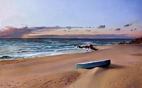 Картинка песок, море, пляж, камни, берег, лодка, прибой