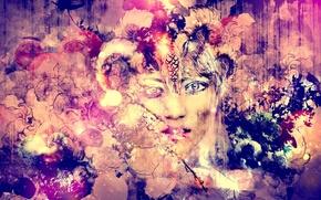 Картинка глаза, взгляд, лицо, рисунок, artwork, Абстрактное, paintings, яркость.