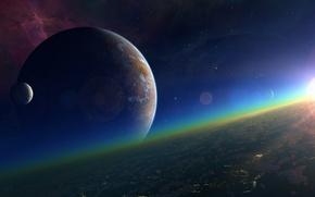 Картинка солнце, космос, звезды, поверхность, туманность, планета, спутник