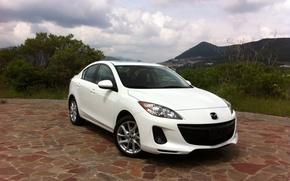 Картинка авто, белый, пейзаж, Mazda, white, Axela