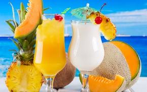 Картинка море, вишня, кокос, коктейль, фрукты, ананас, fresh, drink, cocktail, дыня, fruits, tropical
