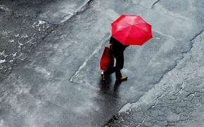 Обои raining, umbrella, woman