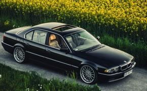 Картинка BMW, Бумер, БМВ, Black, Stance, E38, Bimmer, Катки, 740iA