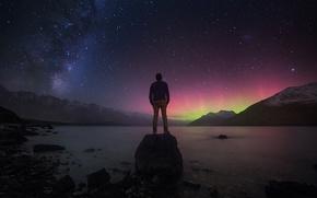 Картинка звезды, пейзаж, горы, камни, человек, Новая Зеландия, Млечный путь, размышления