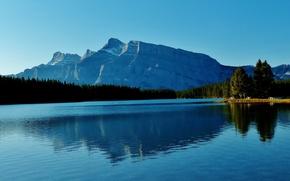 Картинка лес, горы, озеро, Канада, Альберта, Banff National Park, Two Jack Lake