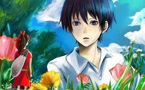 Картинка небо, трава, девушка, облака, деревья, цветы, аниме, арт, парень, Ариэтти из страны лилипутов, Arrietty, Karigurashi …