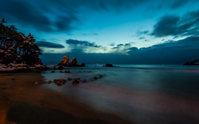 Обои korea, seoul landscape, asia, ночь, море, скалы