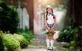 Картинка девочка, косички, корзинка, солнечный свет, Waiting, child photography