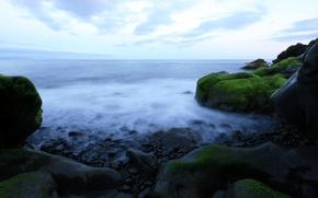 Обои вода, горизонт, Камни
