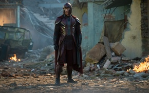 Обои фантастика, огонь, кадр, костюм, развалины, шлем, Magneto, Michael Fassbender, Майкл Фассбендер, X-Men: Apocalypse, Люди Икс: ...