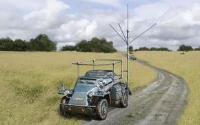 Картинка дорога, поле, война, рисунок, арт, Вторая мировая война, немецкие, Kleiner, Sd.Kfz. 261, бронеавтомобили, Panzerfunkwagen