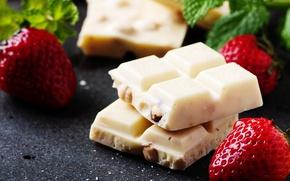 Картинка белый, еда, шоколад, клубника, ягода, орехи, сладкое, Natalia Klenova