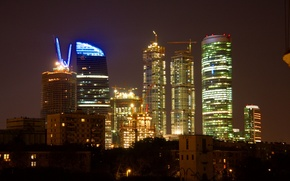 Картинка ночь, Москва, Москва сити, Moscow city