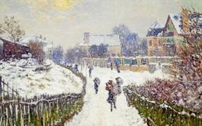 Картинка снег, картина, городской пейзаж, Клод Моне, Бульвар Сен-Дени. Аржантёй. Зима