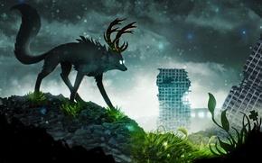 Картинка небо, трава, листья, снег, тучи, животное, здания, арт, рога, руины, романтика апокалипсиса, romantically apocalyptic, alexiuss