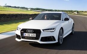 Обои RS 7, скорость, track, speed, Sportback performance, white, car, авто, Audi