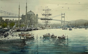 Обои картина, корабль, лодка, мост, минарет, мечеть, Максимилиан Дамико, Стамбул, городской пейзаж, акварель