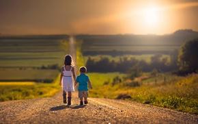 Картинка дорога, дети, путь, простор, девочка