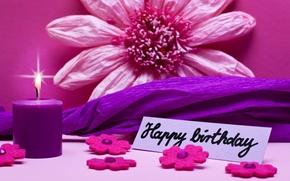 Картинка pink, flowers, день рождения, Happy, Birthday