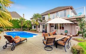 Обои пальмы, интерьер, стол, сад, особняк, стулья, лежак, дом, бассейн, камни, дизайн