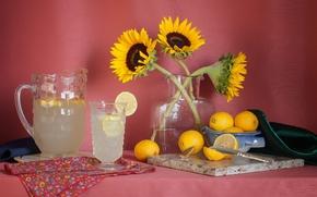 Картинка подсолнухи, лимон, лимонад