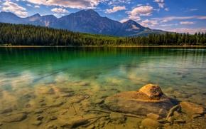 Картинка лес, горы, камни, Озеро