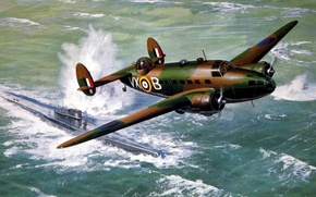 Картинка war, art, airplane, painting, aviation, Lockheed Hudson