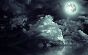 Картинка море, небо, облака, свет, пейзаж, ночь, луна