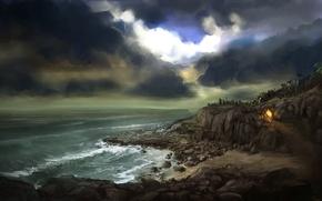 Обои море, тучи, камни, скалы, огонь, бухта, костер, арт, дорожка, пещера, тропка