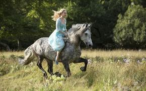 Картинка cinema, grass, Disney, flower, dress, trees, bushes, movie, woods, animal, horse, blonde, film, princess, Cinderella, …