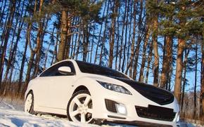 Обои снег, деревья, Mazda 6