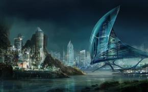 Картинка город, огни, Night cityscape, Sid75, ночь, sci-fi, здания, фантастика