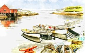 Картинка дом, лодка, рисунок, причал, акварель