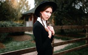 Картинка девушка, косички, шляпка, Георгий Чернядьев, Amish