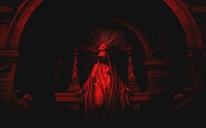 Картинка Red, Black, 2560x1600, Statue, Eye, Pyramid, Illuminatti, All-seeing eye, Altar