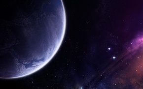 Картинка звезды, туманность, планета, атмосфера