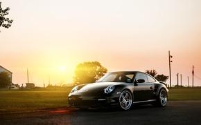 Картинка блик, 997, чёрный, front, black, порше, 911, солнце, Porsche, Turbo