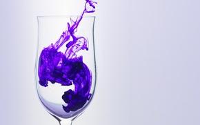 Обои фиолетовый, стекло, дым, Бокал