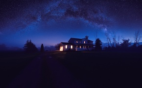 Картинка свет, природа, дорога, деревья, Ночь, дом, небо, звезды, темнота