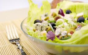 Обои зелень, еда, тарелка, вилка, овощи, оливки, салат, полезное