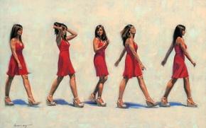 Картинка девушка, красное, картина, платье, брюнетка, арт, походка, Gavin Glakas