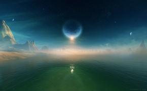 Обои луна, море, небо