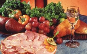 Картинка Meat, parsley, sausage, bell pepper, овощи, болгарский перец, dill, dish, блюдо, мясо, glass, виноград, петрушка, ...