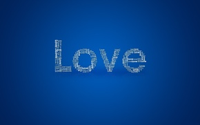 Картинка надпись, Love, синий фон, Текстуры