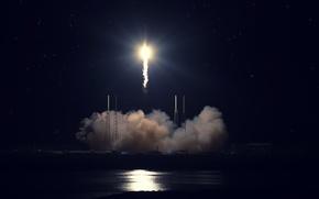 Обои старт, SpaceX, Falcon 9, мыс Канаверал, Dragon Fire. ракета