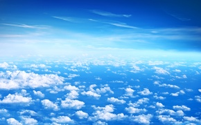 Обои Beautiful clouds, blue sky, высота, голубое, облака, небо, белые