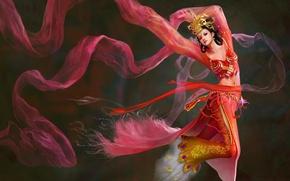 Картинка девушка, фентези, ветер, танец, Diao ChanII