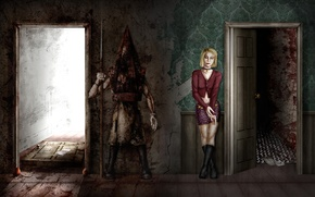 Картинка девушка, стены, монстр, двери, арт, Мария, комнаты, помещение, Maria, Silent Hill 2, Pyramid Head, Пирамидоголовый
