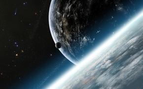 Обои планеты, спутник, атмосфера