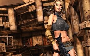 Картинка взгляд, девушка, лицо, поза, рендеринг, оружие, фон, волосы, здание, разрушение